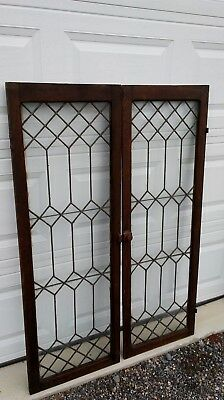 Set Of 2 matching antique leaded glass oak cabinet doors with hardware…