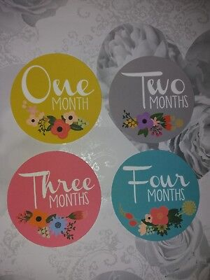 baby age milestone memorable moments card 1-12 month, baby shower, photo prop