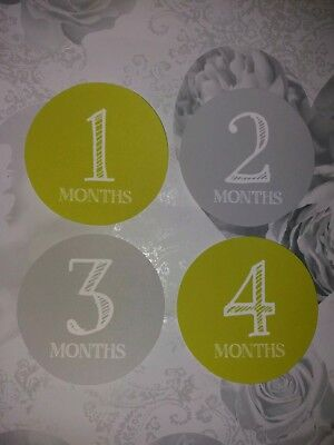 baby age memorable moments milestone cards 1-12 month, baby shower, photo prop