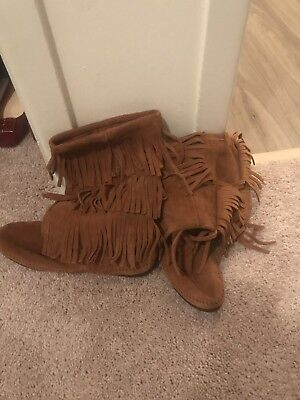 MINNETONKA Moccasin 3 Layer Fringe Tall Brown Suede Leather Womens Boots Size 10