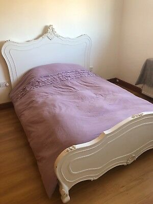 French Ornate King Size Bed Shabby Chic Colour Off White Shabby Chic