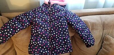 Girls Faded Glory Polka Dot Jacket Pink/Blue/White Size S (4-5) Preowned