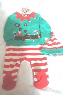 55e8f87a9 BABY SLEEPSUIT HAT Set First Christmas Xmas Novelty Outfit Festive ...
