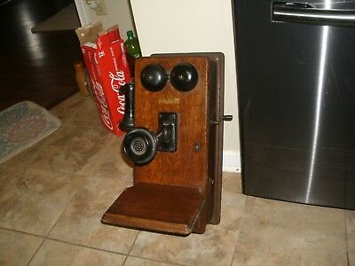 Antique Western Electric Oak Hand Crank Wall Phone 1900-1903 Nice! Complete