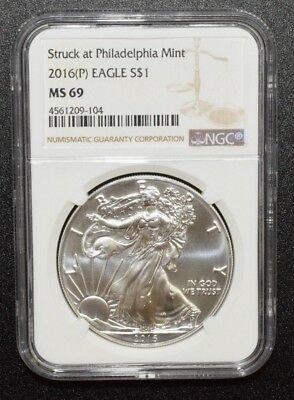 2016P Silver American Eagle Coin-NGC MS69 Struck at PHILADELPIA Label C9499