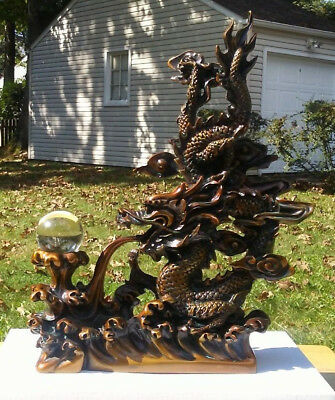 Vintage Dragon Statue with Glass Ball China Asian Figurine Collectibles