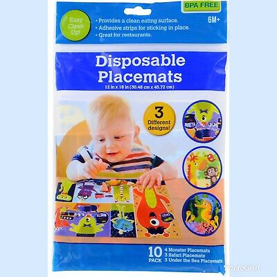 Disposable Adhesive Placemats For Children (10 Count) FREE SHIPPING!