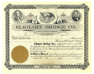 Elkhart Bridge Co. Stock Certificate. Indiana