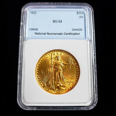 1922 $20 Standing Liberty Gold Saint Gaudens Double Eagle Coin WD4258