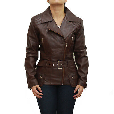 Ladies Dark Brown Real Leather Smart Quilted Belted Military Retro Jacket/Coat