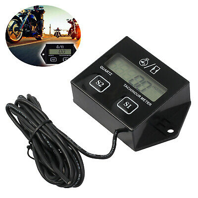 Digital Engine RPM Tach Tachometer Hour Meter Inductive for Motorcycle Racing