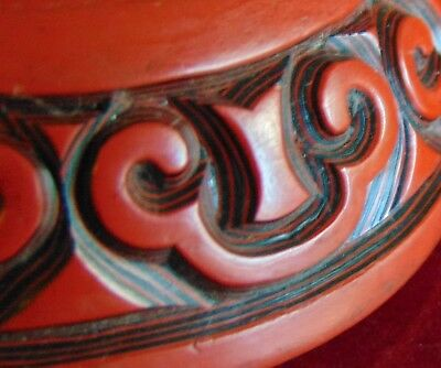 Antique Chinese Carved Tixi BLACK RED Cinnabar Layered Lacquer Box Guri Pattern