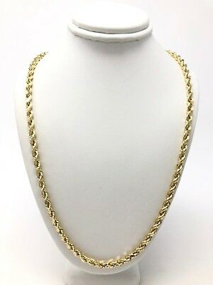 """New 14K Yellow Gold Hollow Diamond Cut Rope Chain Necklace 24"""" 4.2mm 8.8 grams"""