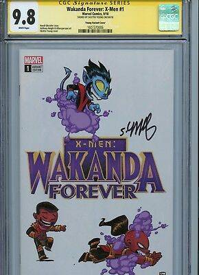 Wakanda Forever X-Men #1 Young Variant Cgc 9.8 Ss Signed By Skottie Young