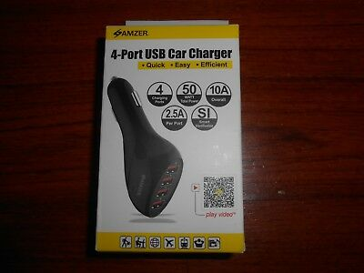 Amzer 10A / 50W 4-Port Usb Car Charger With Intelligent Rapid Charge Technology