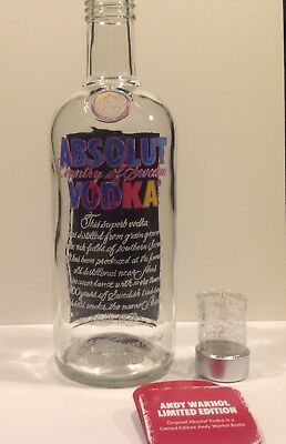 EMPTY ABSOLUT WARHOL with tag Vodka Painted Bottle Limited Edition Andy 750ml
