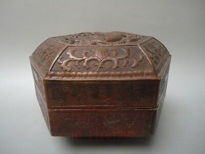 Superb Collection China Old Copper Handmade Dragon Chinese zodiac Jewelry Box