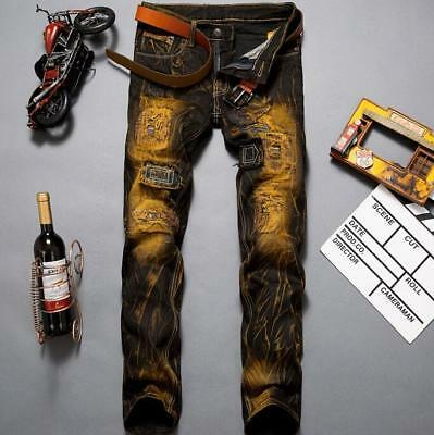 Retro Mens Straight Frayed Biker Jeans Distressed Ripped Destroyed Denim Pants