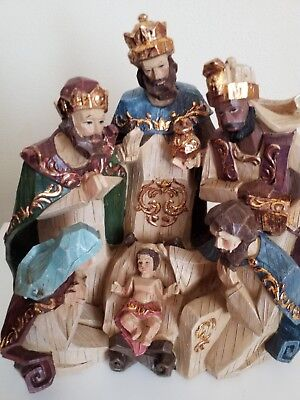 Christmas Nativity Scene Handcrafted Wood.