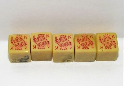 "Vintage BUTTERSCOTCH BAKELITE POKER DICE 5/8"" Estate Find JACK QUEEN KING SPADE"