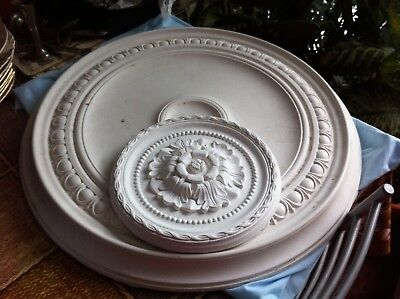 2 x Vintage Cavendish Round Plaster Ceiling Rose Large & Small White