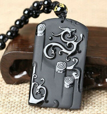 100% Natural Black Obsidian Carved Dragon Phoenix Lucky Pendant + Beads Necklace