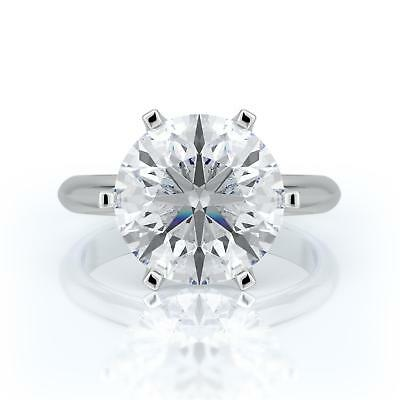 3 Ct D Si2 Round Cut Diamond Solitaire Engagement Ring 14K White Gold
