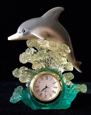 New, Hand Painted Resin Dolphin Leaping Thru Waves Desk/Nightstand Clock