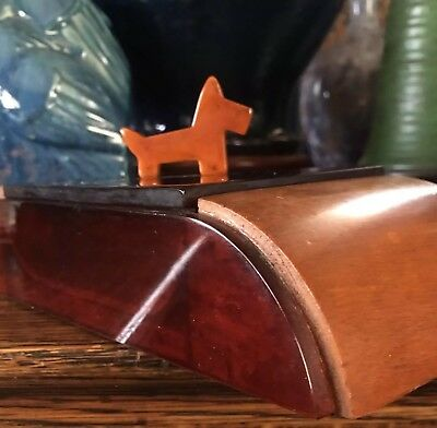 VTG ART DECO BAKELITE WALNUT Trinket Cigarette Box Antique SCOTTIE DOG WATERFALL