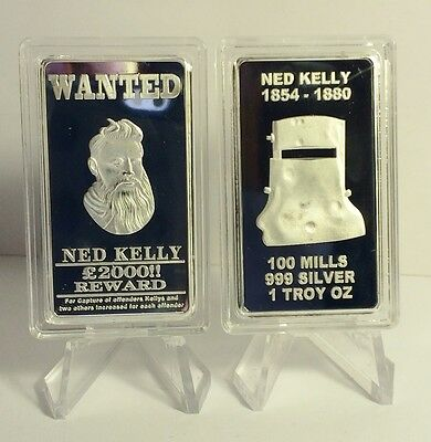 "NED KELLY ""WANTED"" 1 Oz INGOT FINISHED IN 999 SILVER, OUTLAW, GLENROWAN, GUNS"