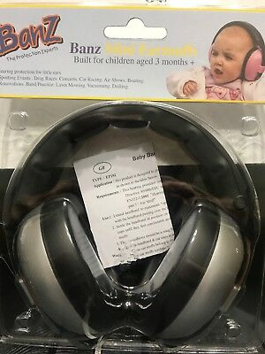 Banz Baby Toddler Mini Earmuffs Silver 3+ Months Hearing Protection New
