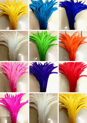 Hot rare 100 pcs 14-16 inch Dyed Rooster Coque tail Feathers 16 colors U pick