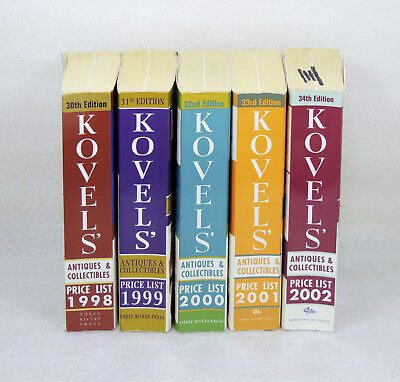 Lot of 5 Kovels Antiques & Collectibles Price List Book 1998-2002
