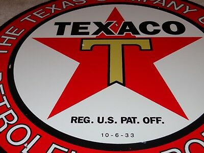 "Vintage ""texaco Petroleum Products"" 11 3/4"" Porcelain Metal Gasoline & Oil Sign!"