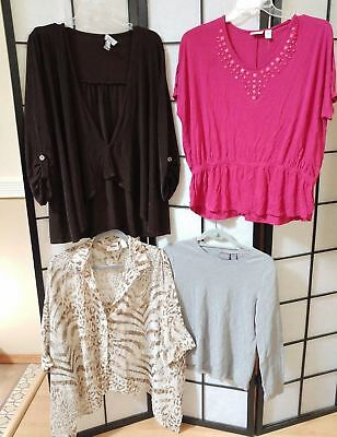 Chicos Size 2 - Lot of 4! Womens Size Large Button Leopard Print Shirt Pink Gray
