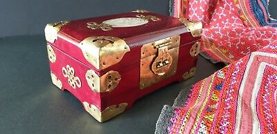 Old Chinese Redwood Inlaid Jewelry Box with Lots of Brass …beautiful display / a