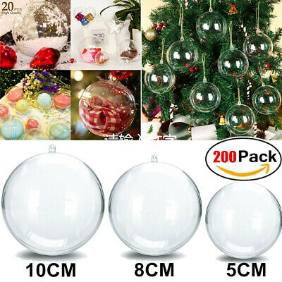 20X Clear Plastic Christmas Balls Baubles Sphere Fillable Xmas Tree Ornaments UK