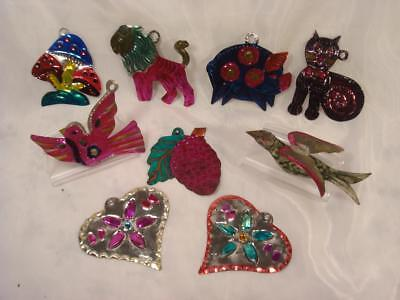 Lot Of 9 Mexico  Painted Tin Christmas Ornaments Birds Hearts Mushrooms Lion Cat