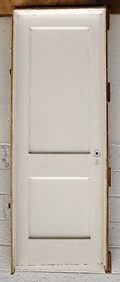 "PRE-HUNG 30""x84"" Antique Vintage Interior SOLID Wood Wooden Door Frame Hardware"