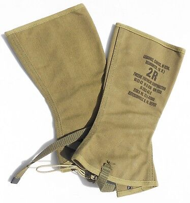 MINT PERFECT ORIG 1943 US ARMY WWii CANVAS LEGGINGS SIZE 2R, DATED 10/27/43