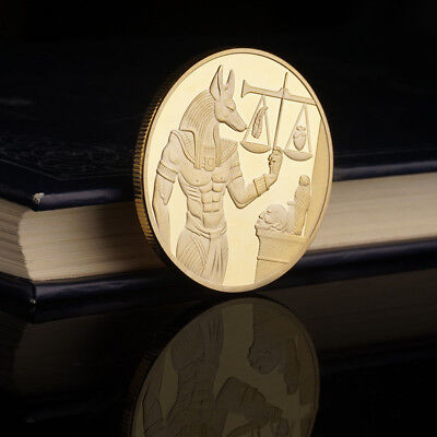 God of Death Egyptian Mummification Anubis Coin Badge Collectible Gold/Silver