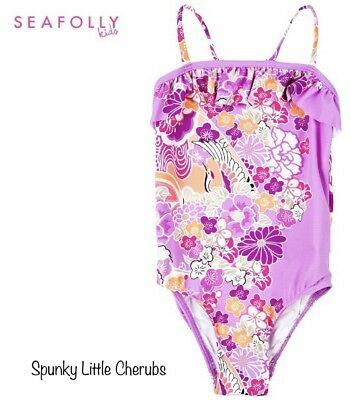NWT Girls Seafolly Purple Flower Swimmers - Size 0