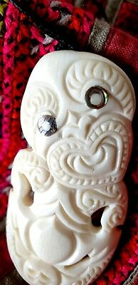 Old New Zealand Carved Tiki with Paua Shell Eyes …beautiful necklace charm