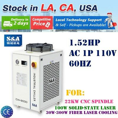 US Stock 2pcs 110V S&A Industrial Water Chiller CW-6000DN for 22KW CNC Spindle