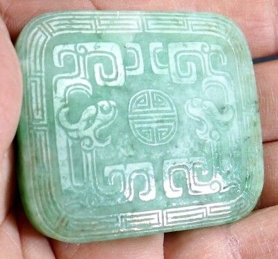 Fine Old Chinese Jade Jadeite Apple Green Plaque Carving Sculpture Art