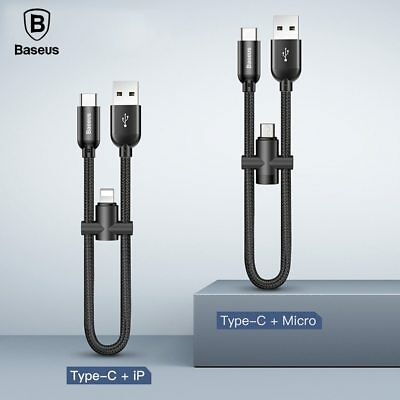 Baseus Short 2 in 1 Lightning/Micro USB Female Type C Male Charging Data Cable