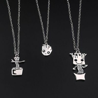 Baby Groot Guardians of the Galaxy Silver Plated Chain Pendant Necklace Jewelry