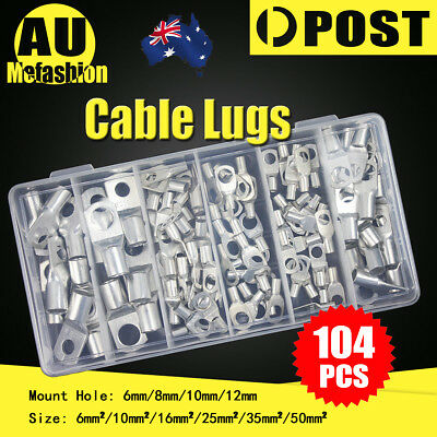 104 Copper Cable Lugs Kit 6mm 10mm 16mm 25mm 35mm 50mm Battery Terminal 4WD AU