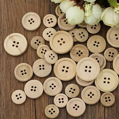 50 Pcs Mixed Wooden Buttons Natural Color Round 4-Holes Sewing Scrapbooking