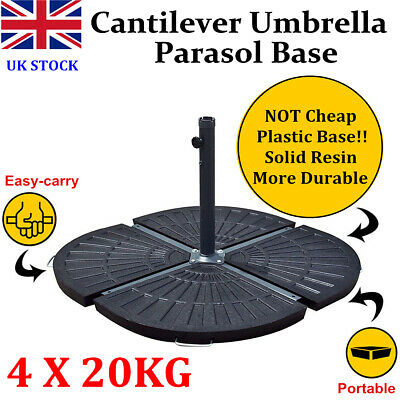 New 4 X 20KG RESIN GARDEN PARASOL BASE PATIO CANTILEVER UMBRELLA WEIGHTS STAND